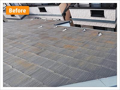 練馬区谷原屋根塗装の施工前、全体の写真です